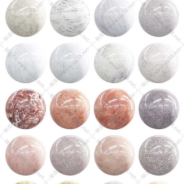 C4D/3dmax/Keyshot/Vray/OC大理石水磨石材质4K高清PBR贴图素材库