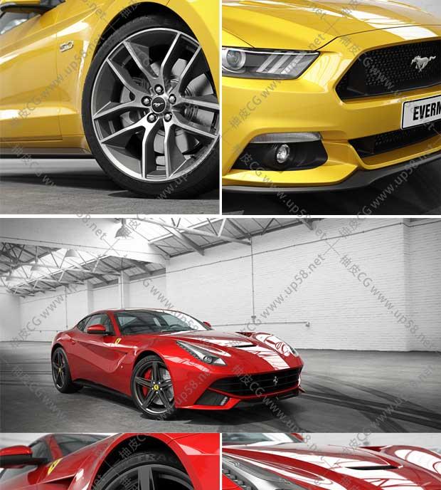 C4D / 3DSMAX / VRay品牌汽车精细3D模型