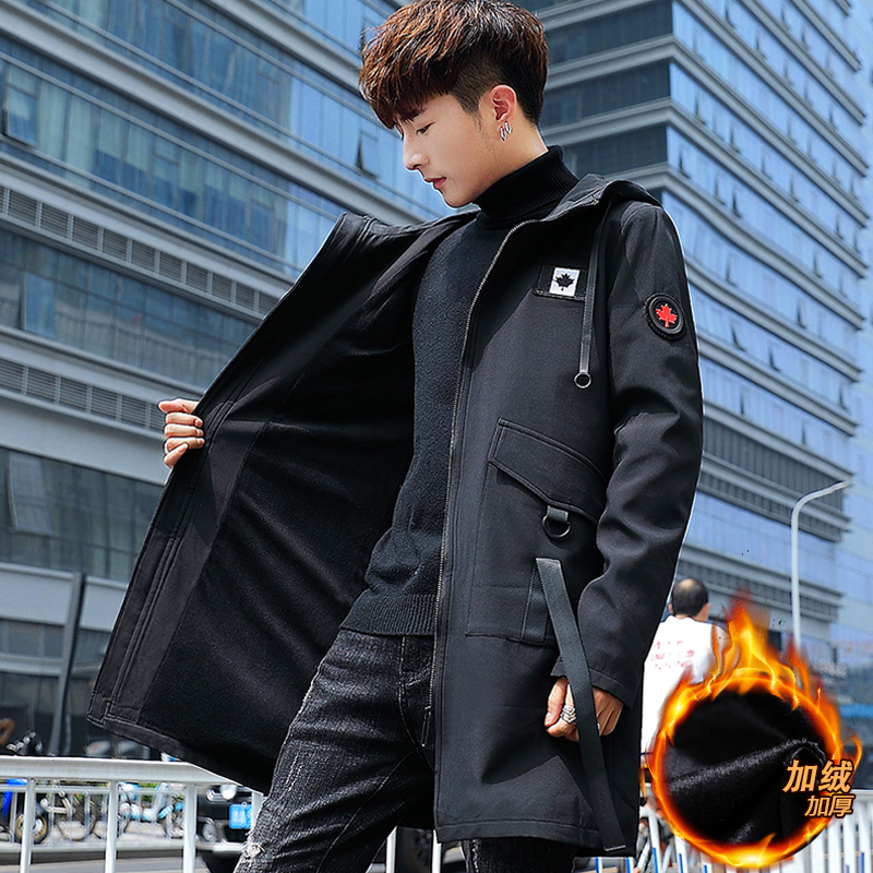 冬装男士风衣2018新款韩版冬季加绒加厚外套男中长款学生男装披风