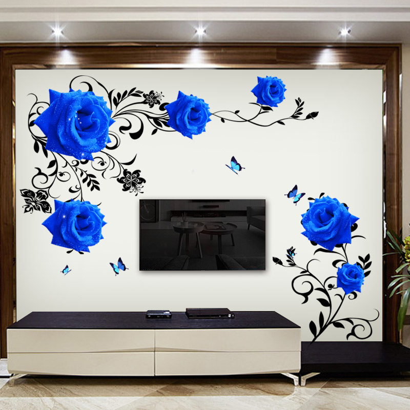 Rose Chinese Decorations Self Adhesive Wall Stickers Warm Tv Stickers Room Bedroom Living Room Wall Painting Wallpaper Creative