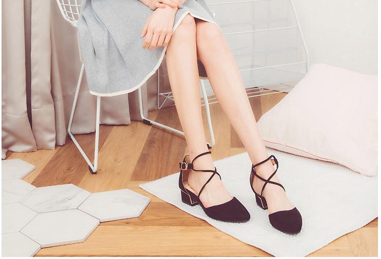琪可朵2018新款春季单鞋女浅口尖头鞋韩版粗跟中跟女鞋绑带低帮鞋12张