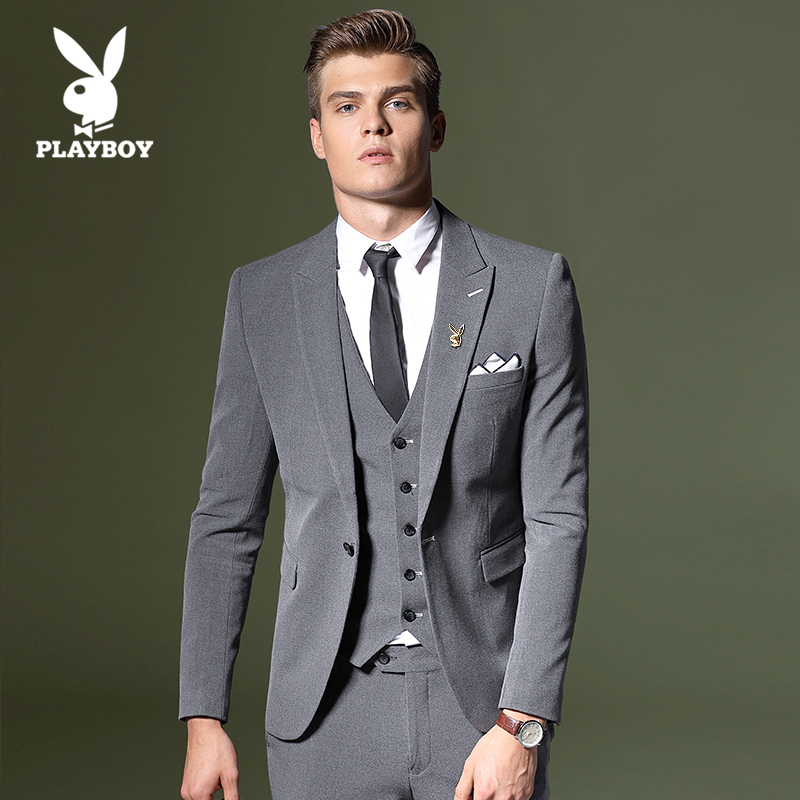 USD 311.54] Playboy new suit men\'s suit slim career suits groom ...