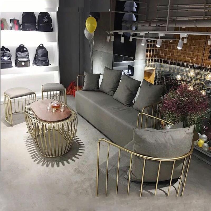 Нордический один железо диван стул работа комната двойной диван творческий простой современный одежда магазин использование поверхность личность