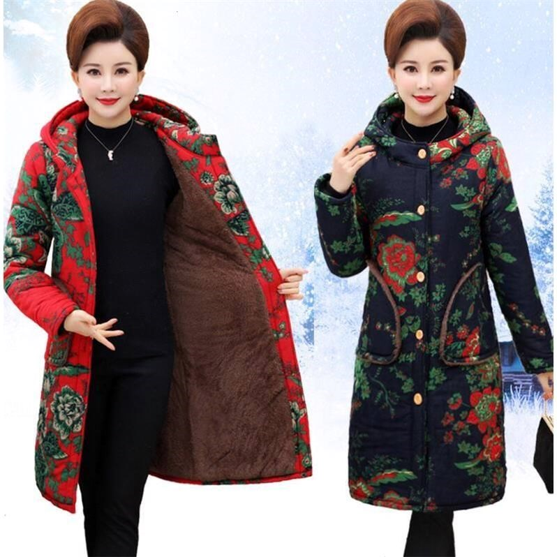 中老年外套棉衣装女冬季新款中长款大码棉衣连帽妈妈风民族加绒