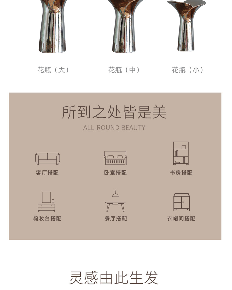 Nordic light key-2 luxury silver plating ceramic vases, I and contracted sitting room flower arranging furnishing articles between example tail decorations