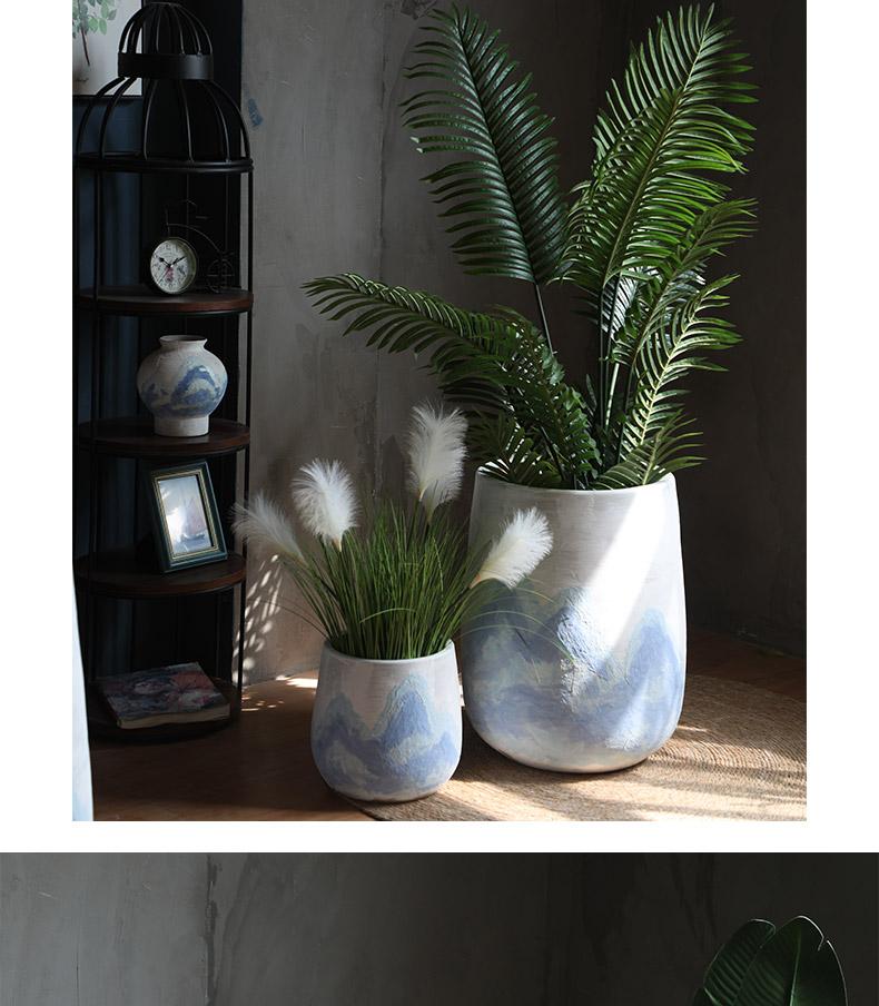 Jingdezhen ceramic Nordic green plant of large diameter flowerpot land contracted flowers villa hotel decoration flower arranging furnishing articles