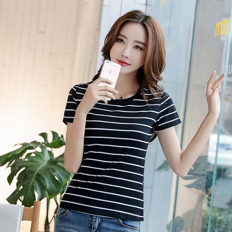纯棉条纹短袖t恤女夏季新款韩版修身上衣学生百搭显瘦体恤打底衫