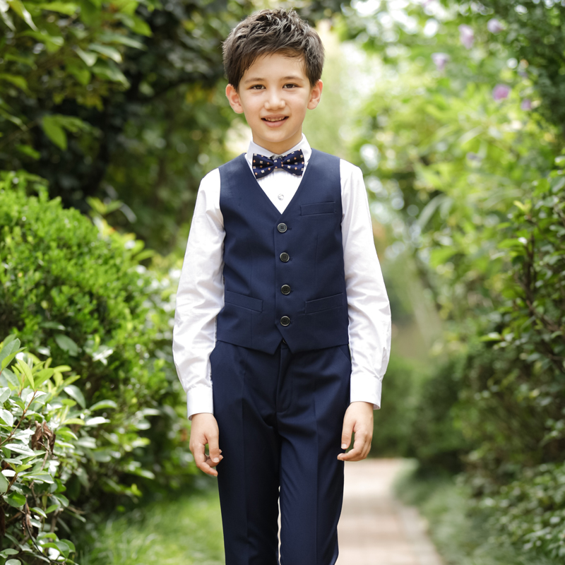 NAVY STYLE (SHIRT + PANTS + NAVY BLUE VEST + FLORAL BOW TIE)