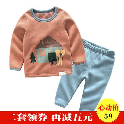 Children plus velvet pajamas boys warm underwear winter baby home service thickening girl suit cotton children's clothing