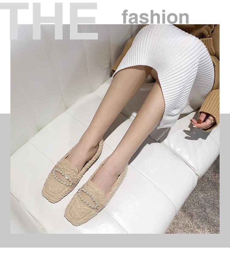 小跑牛鞋方頭百搭單鞋女2021秋冬新款正韓百搭氣質豆豆平底鞋小香風珍珠鞋