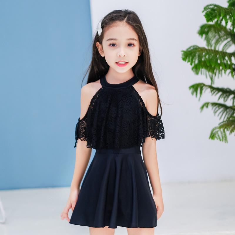 Đồ bơi mới cho bé gái Áo tắm liền thân màu một mảnh Đầm ren Công chúa Hàn Quốc Nhỏ tươi Nhỏ nhỏ Áo tắm trung niên - Đồ bơi trẻ em