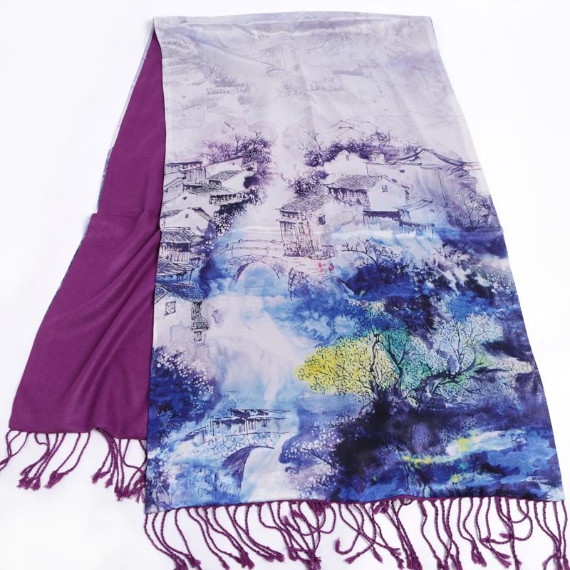 шарф 1 раза в Шанхай, Ханчжоу шелк шелк историю шарфы высокая-класс шелк шлифованный шарф шаль струйной мама