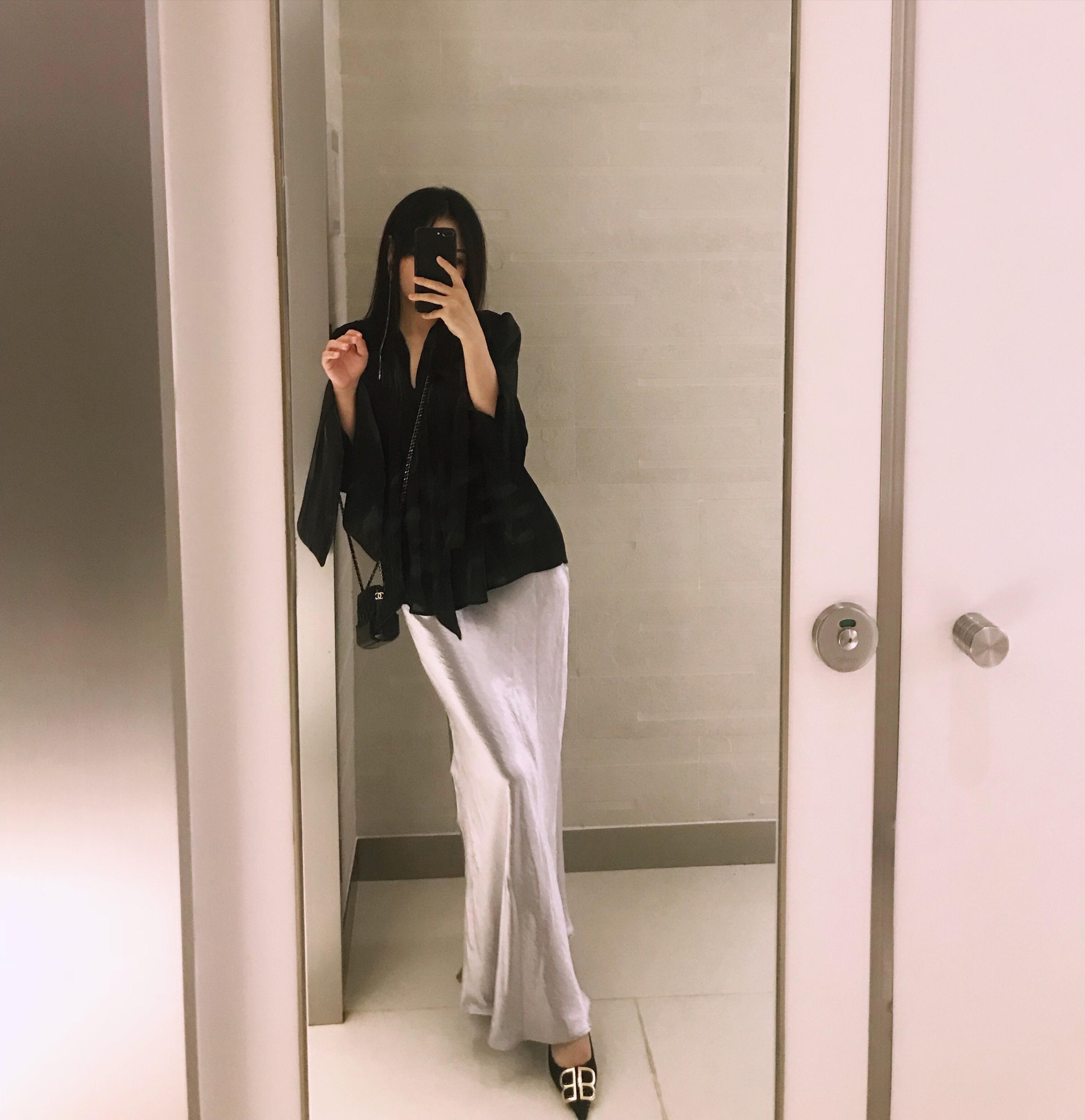 WM妙匠 chic鱼尾裙光泽感大摆修身包臀不规则半身长裙高腰显瘦女