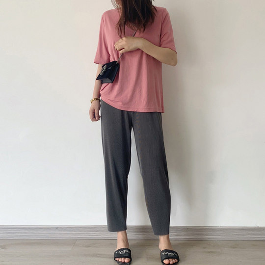 Grey ice silk wide leg pants women's summer thin sagging granny pants loose straight casual oversize slim Capris