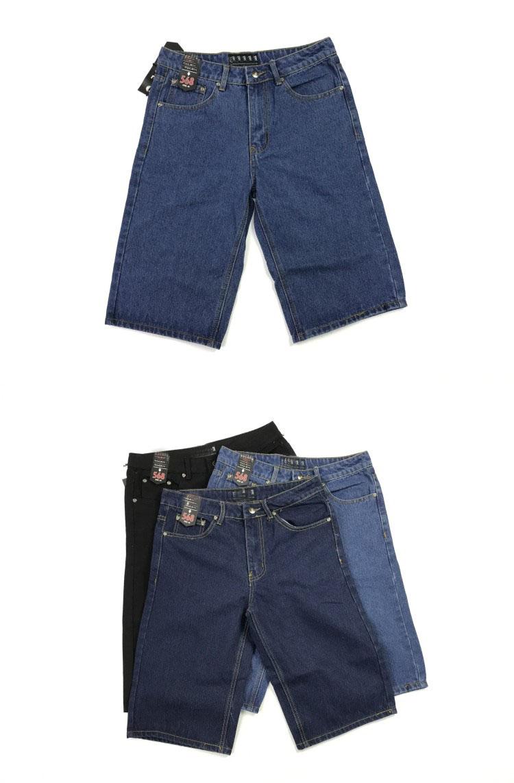Mùa hè quần jeans năm điểm quần bò nam thẳng thẳng rộng kích thước lớn quần dày quần thường xu hướng quần short - Quần short