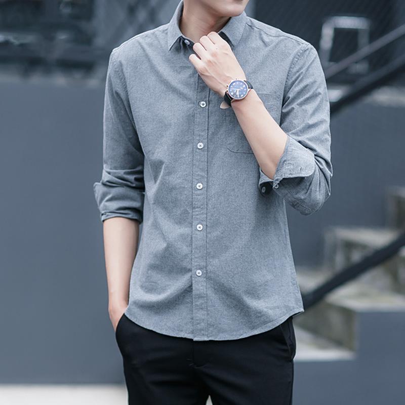 2020新款男士衬衫长袖休闲潮流帅气寸衣韩版修身秋季加绒白色衬衣