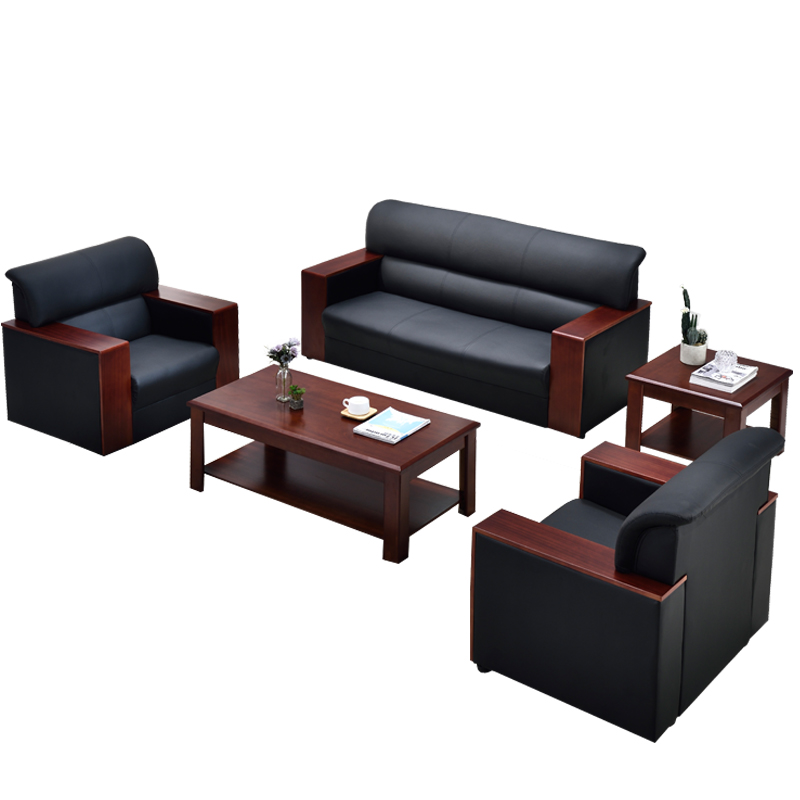 Leather Office Sofa Simple Modern Coffee Table Combination Business Reception Meeting Single Three Person