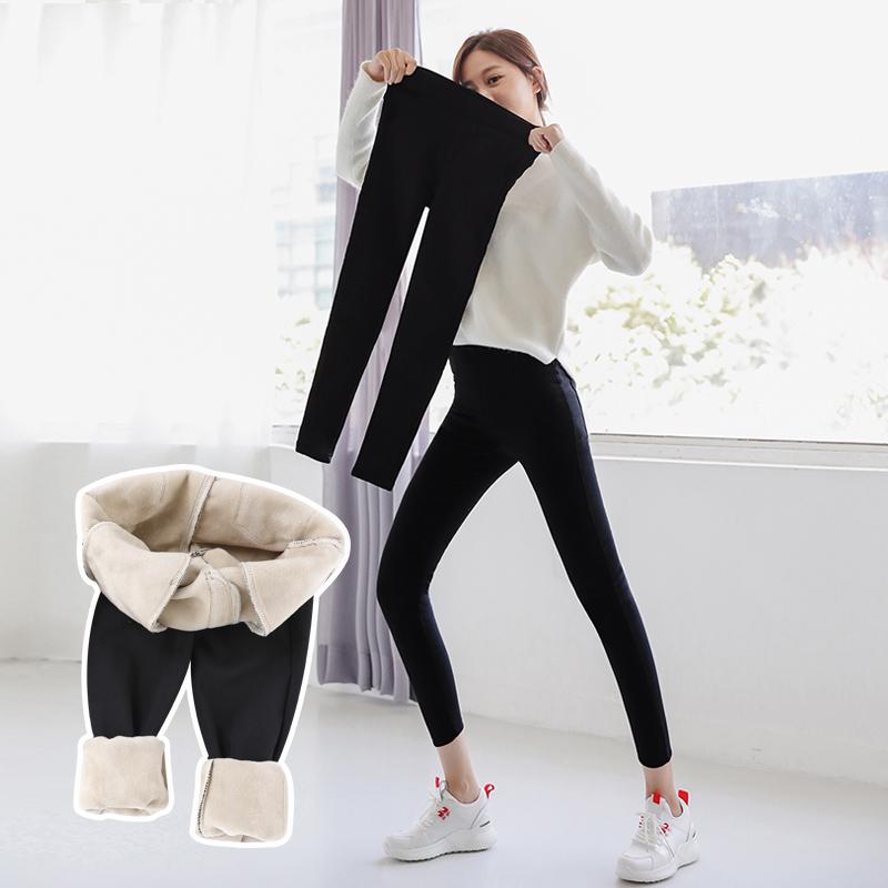 秋冬加绒加厚打底裤保暖羊羔绒棉裤
