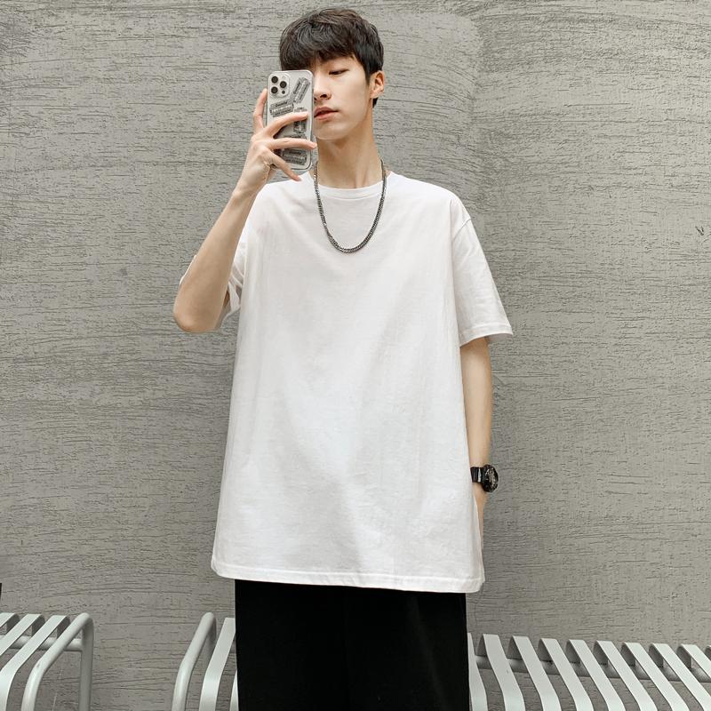 纯色重磅短袖t恤春夏季男士宽松内搭白体恤上衣服半袖打底衫男装