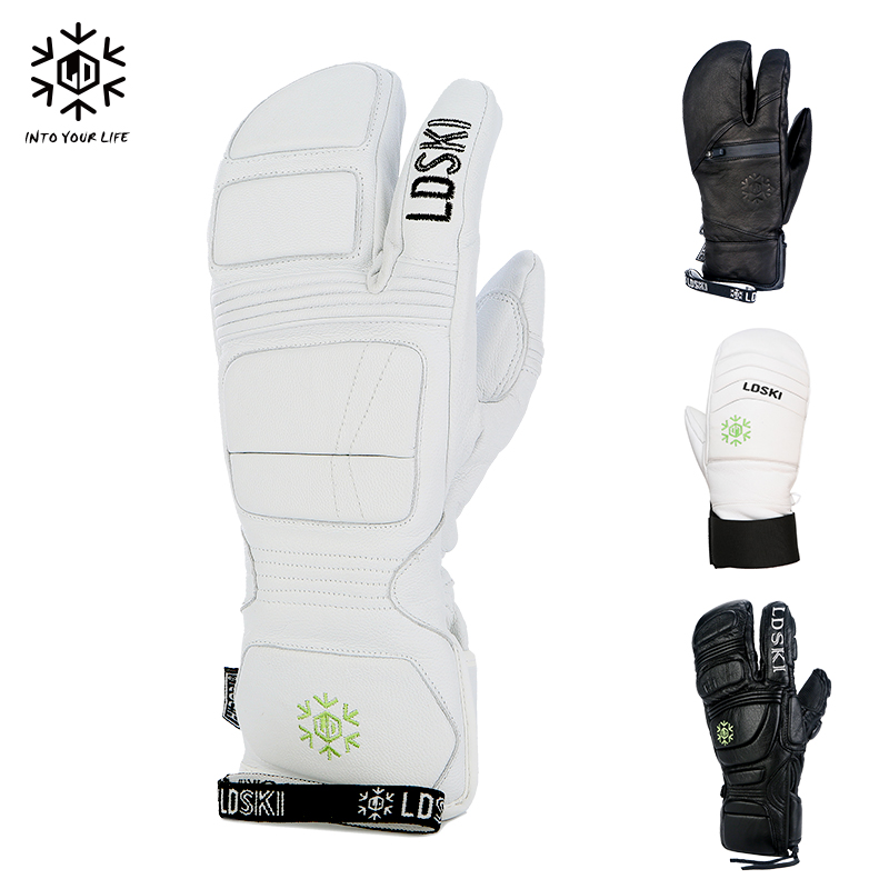 LDski ski gloves wear waterproof goatskin three fingers stuffy men and women within the points refers to the single and double board ski equipment