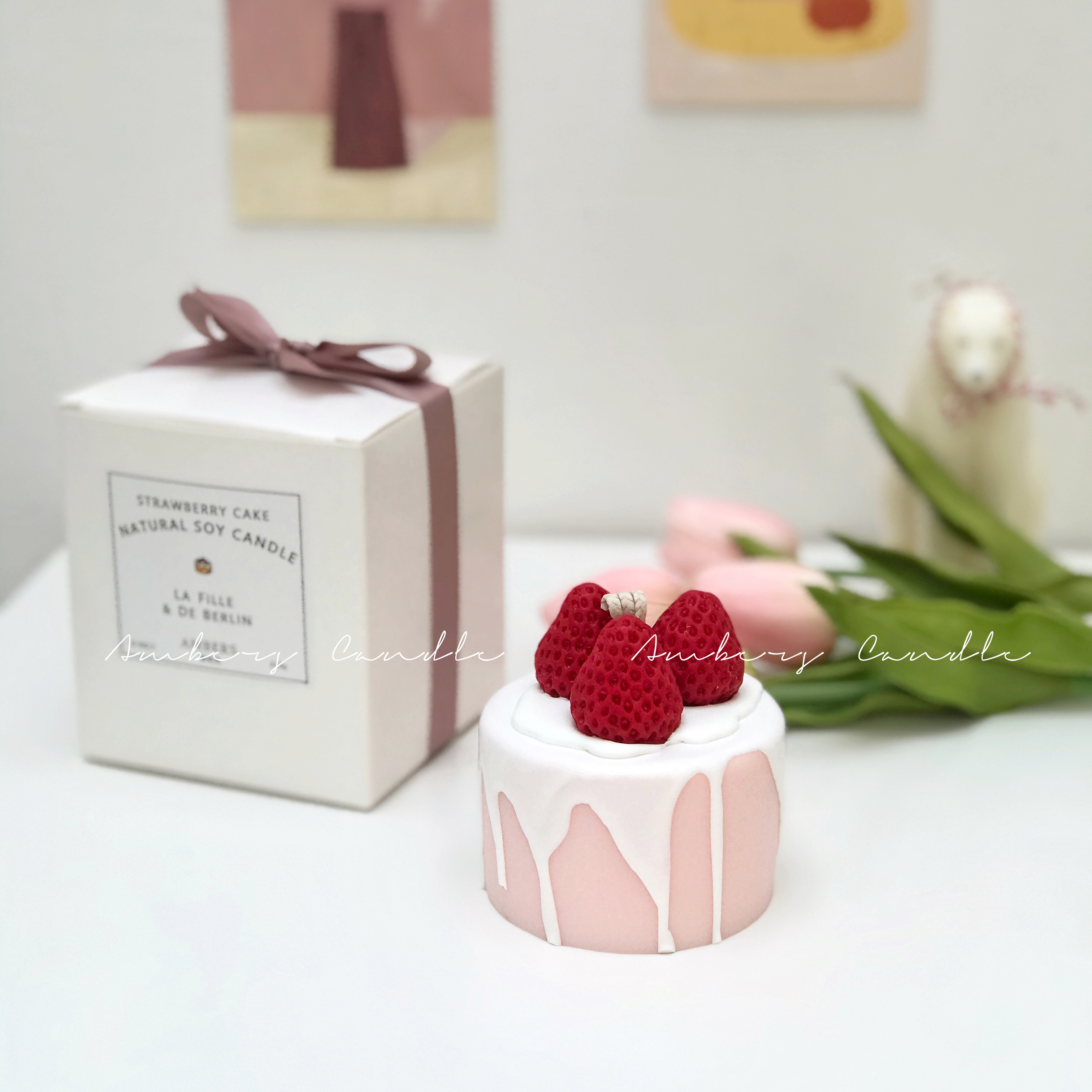 Wondrous Ins Strawberry Dessert Berry Scented Candles Small Birthday Cake Funny Birthday Cards Online Inifofree Goldxyz