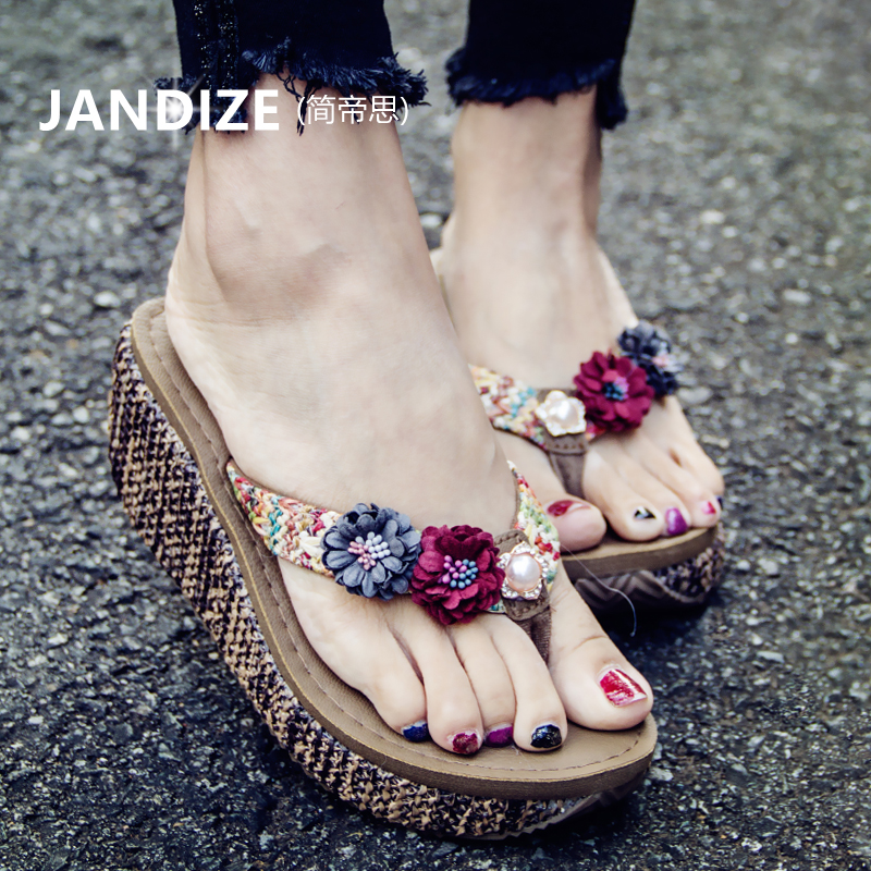 Flowers Wear Sandals Women Summer New At The End Of Beach Resort High