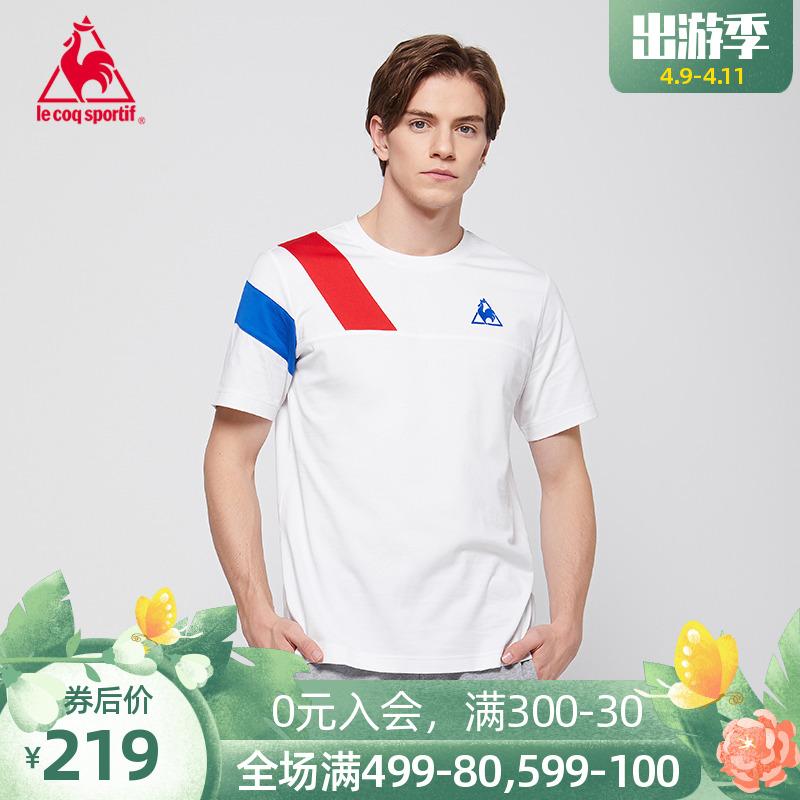 [20 sản phẩm mới] Le Cock Pháp ba màu vá thiết kế vòng cổ tay áo ngắn tay áo thun nam - Áo phông thể thao