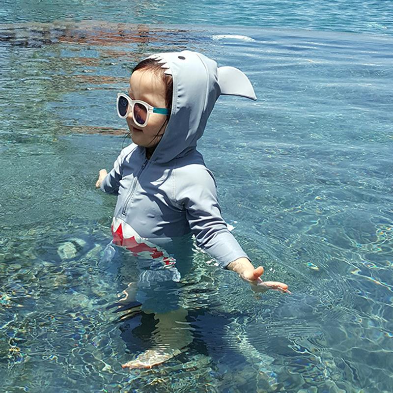 Детские [泳衣] на мальчика [女孩连体鲨鱼防晒速干] на младенца [小童] детские [1-3岁] длинный рукав [游泳装]