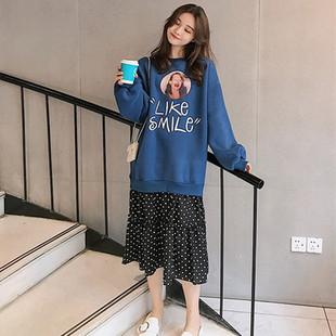 中长款流行款韩版假两件字母外套裙子
