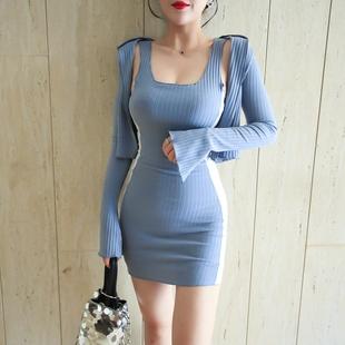 拼色连衣裙ins背心裙+开衫外套
