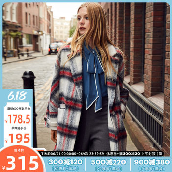 3 free 1 Vero Moda spring new check mid-long section with wool wool coat female 318327507
