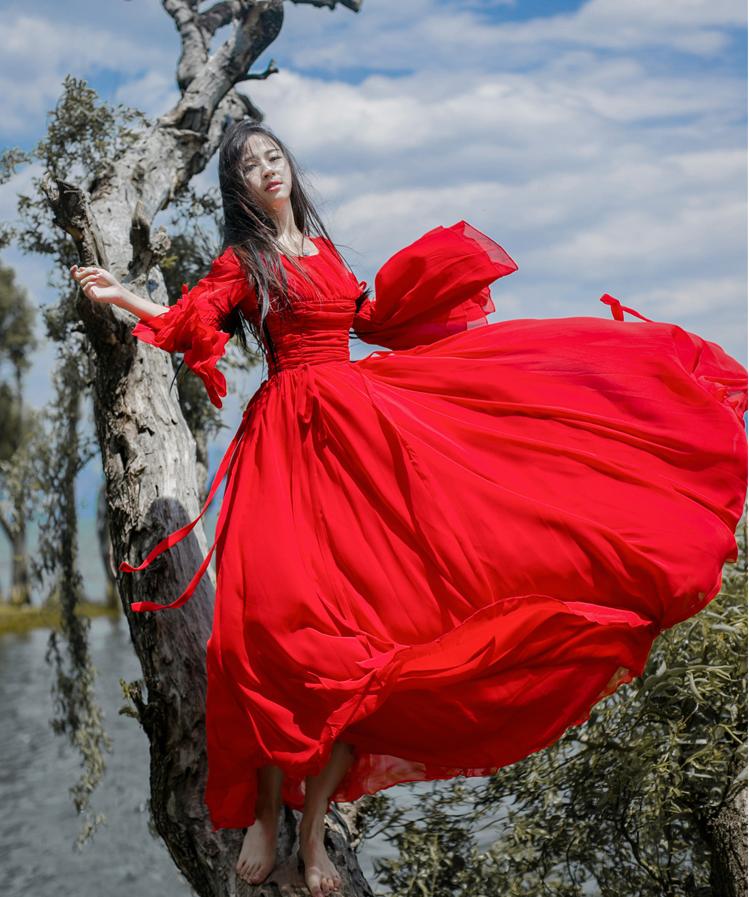 女装出游旅游拍照必备裙西藏青海湖子茶卡盐湖沙漠裙女长裙度假仙