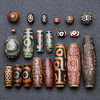 Natural Tibetan Ruyi Dzi Beads Old Agate Three Nine Eyes Round Scattered Beads DIY Buddhist Beads Bracelets Necklaces Jewelry Accessories