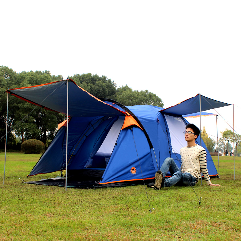 Outdoor camping 3-4 people more than two rooms and one hall double-storey storm-proof fully automatic tent camping folding rain proof