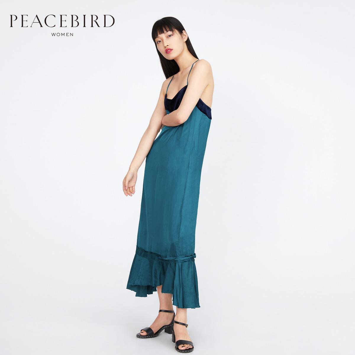 PEACEBIRD 太平鸟  A1FA72108 女士拼接吊带连衣裙