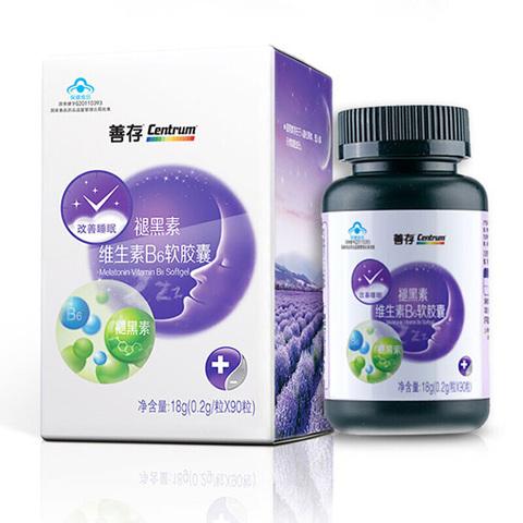 善存褪黑素维生素B6软胶囊90粒熬夜助眠成人改善睡眠