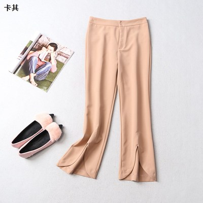 108254 Ming Wei Women's 2017 autumn zipper long solid color casual pants