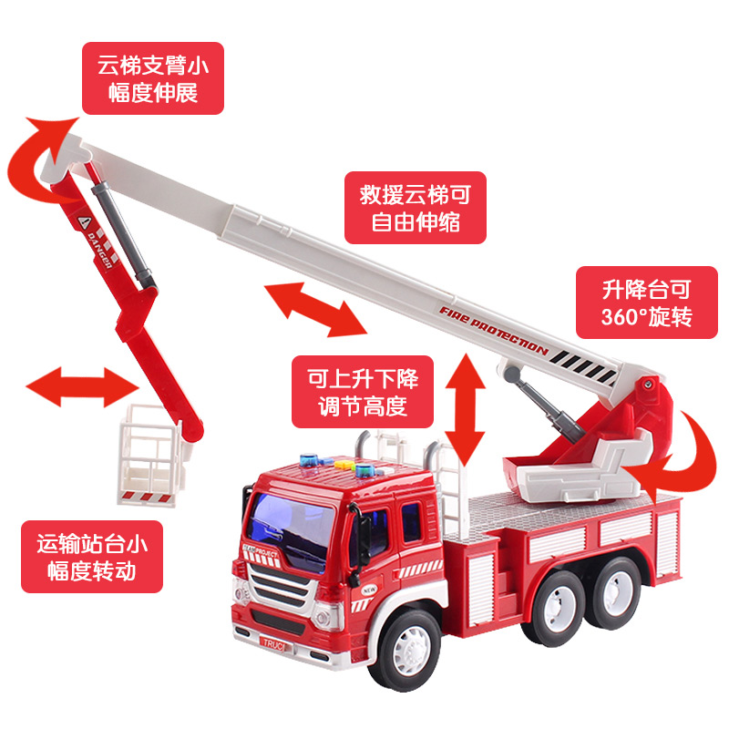 Large Fire Truck Toys Project Set Children\'s Excavator Boys Cars ...