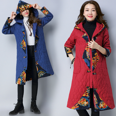 Autumn and winter new vintage national wind plate print button hooded plus long cotton warm cotton coat jacket women