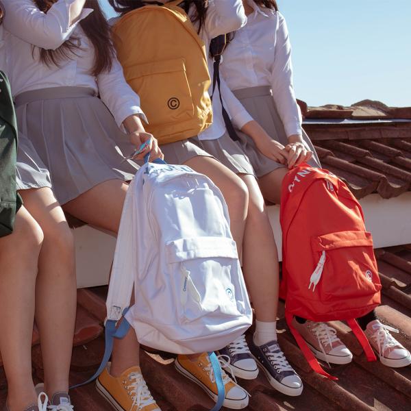 韩国代购SHOOPEN帖色印刷字母流苏吊坠帆布情侣男女双肩背包