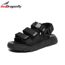 Red Dragonfly Men's Shoes Summer 2021 New Velcro Thick-soled Sandals Male Korean Ins Wind Wild Beach Shoes