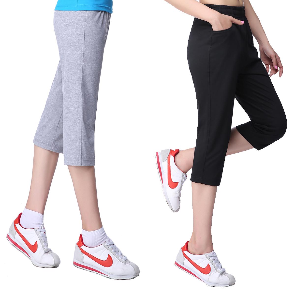 中老年休闲七分裤妈妈夏季薄款宽松大码跑步纯棉高腰女士运动中裤