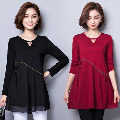 Autumn and winter large size women's fat chiffon shirt loose cover belly T-shirt plus fat fertilizer to increase A word skirt shirt