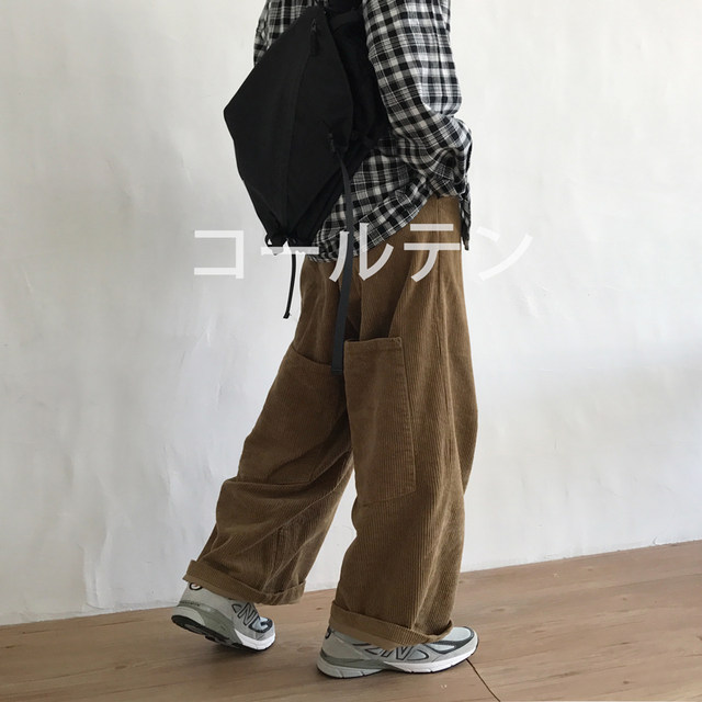 J / W Japanese retro loose wide leg corduroy casual pants for men and women