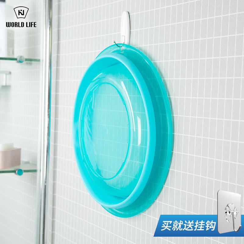 日本折叠脚盆户外旅游用品便携式脸盆可洗脸伸缩泡小号水盆面盆