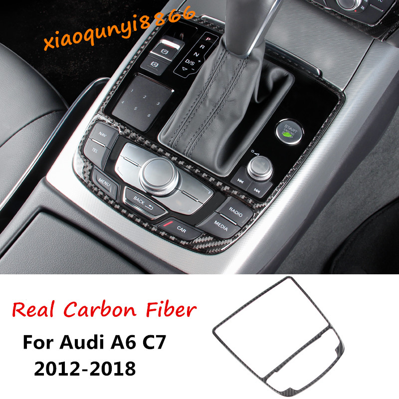 Real Carbon Fiber Inner Gear Shift Box Panel Cover Trim For Audi A6 C8 2019