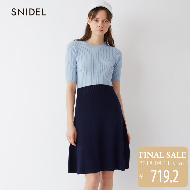 SNIDEL2018新品 時尚針織短袖拼接連衣裙SWNO181079