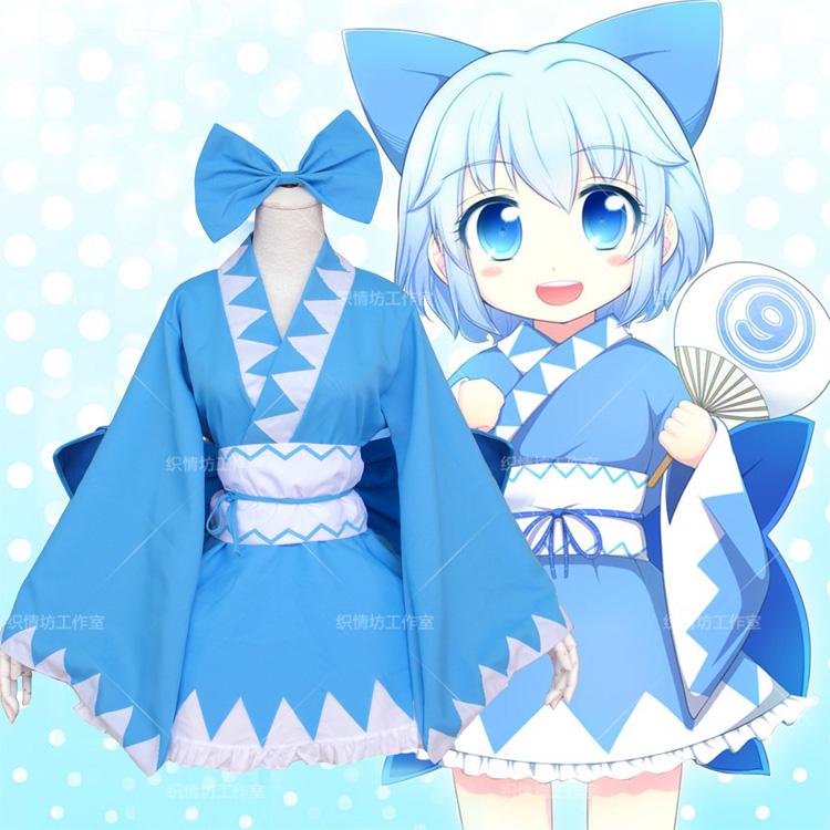 Anime TouHou Project Cirno Cute Kimono Cosplay Lolita