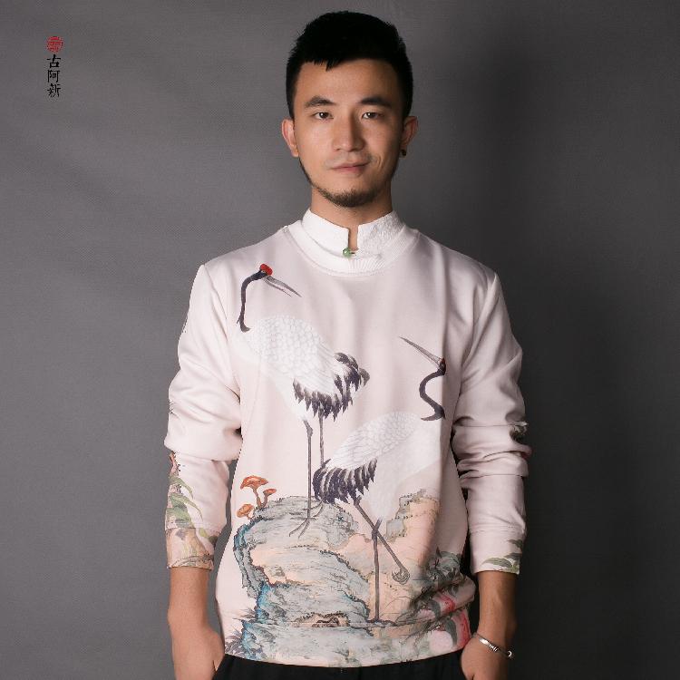 [古 阿 新] Trung Quốc phong cách mùa xuân retro nam áo len áo len dài tay áo đàn hồi lỏng kích thước lớn quần áo của nam giới