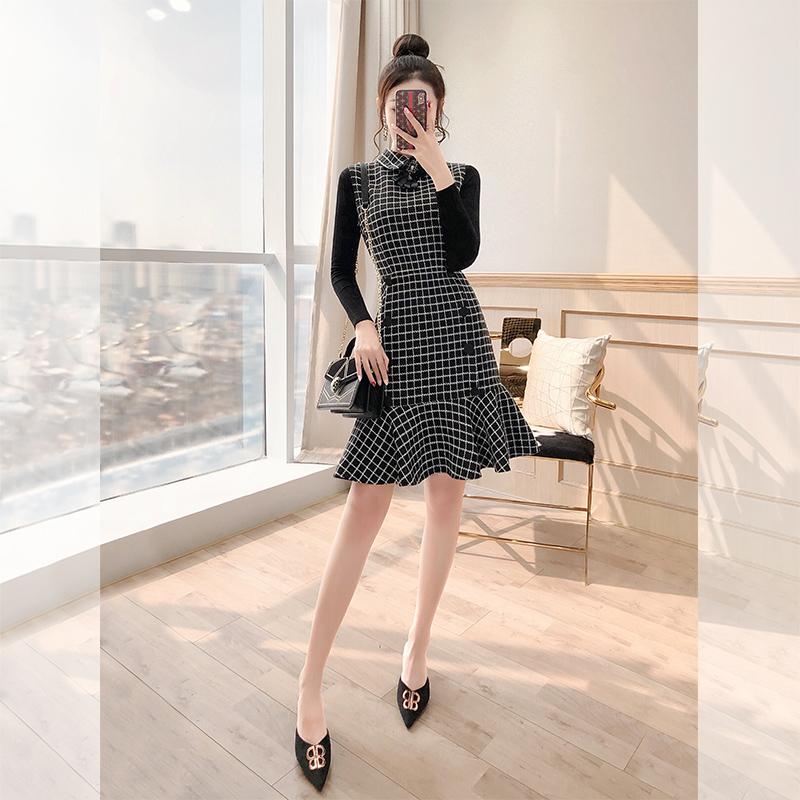 秋冬搭配裙两件套矮个子套装2019新款女神赫本风女装套装范毛衣裙